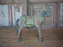Antique Painted Horse in Teak, Patan Gujarat (1 of a pair but sold separately) <b>SOLD<b>